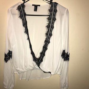 White & black lace top